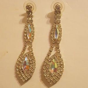 Aurora Borealis Sparkling Drop Pierced Earrlings